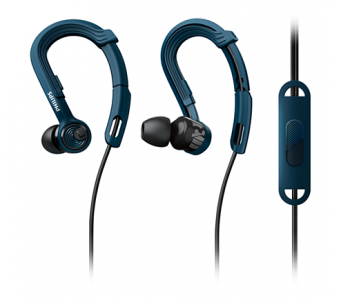 PHILIPS SHQ3405BL ACTIONFIT SPORTS HEADPHONES W MIC SWEAT/ WATERPROOF IN EAR